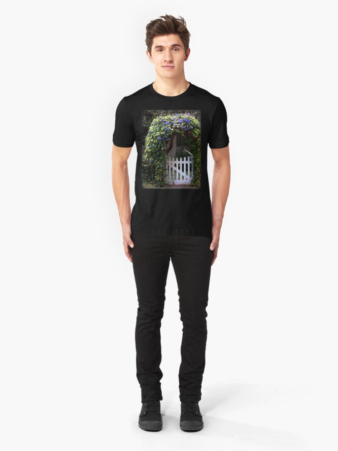 Alternate view of Morning Glory Gate from A Gardener's Notebook Slim Fit T-Shirt