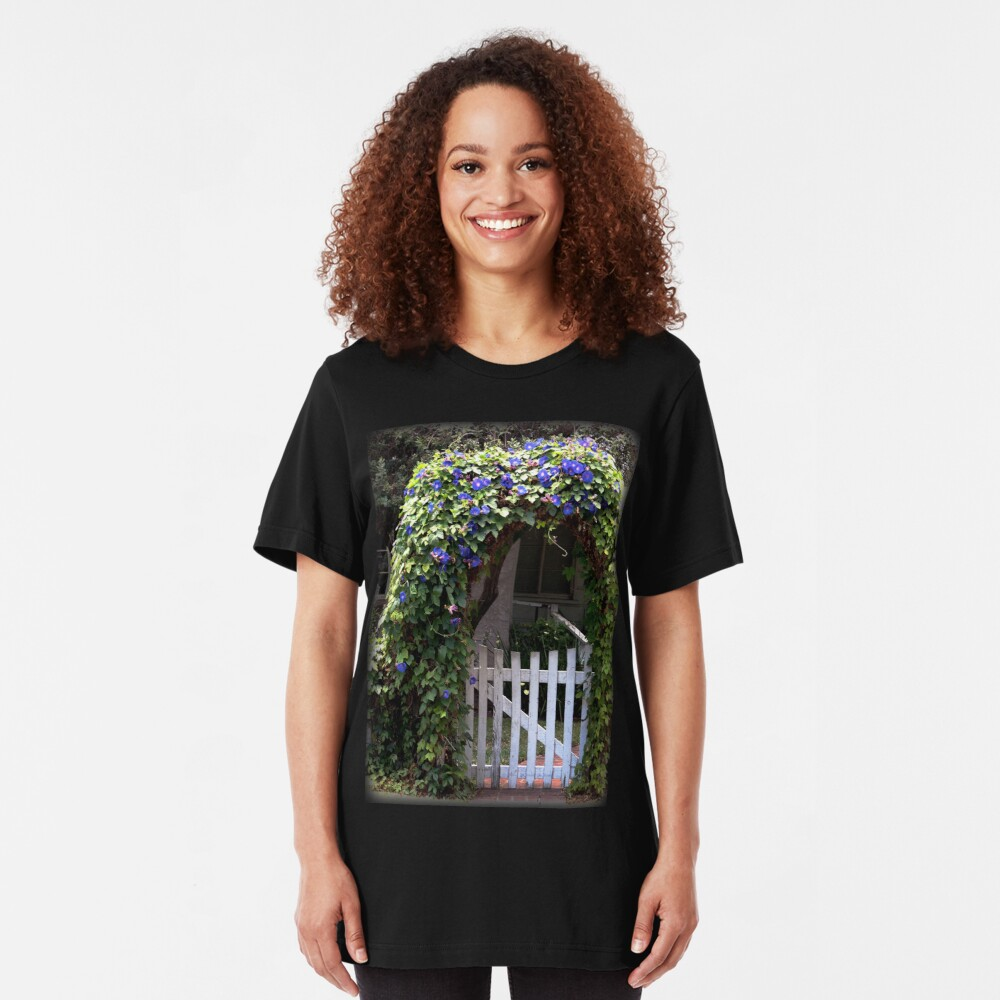 Morning Glory Gate from A Gardener's Notebook Slim Fit T-Shirt
