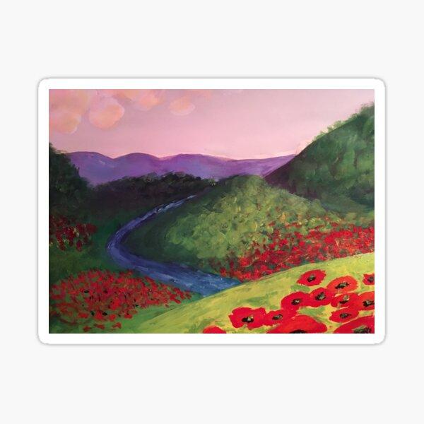 Poppy Stream - original painting by mjh, 2018 Sticker