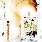 Bracciano: people walking under the arch by Giuseppe Cocco