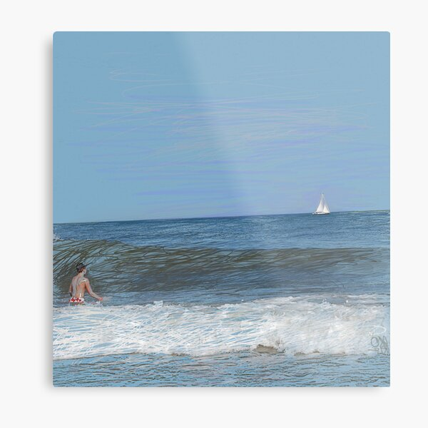 Boy and Sailboat Metal Print