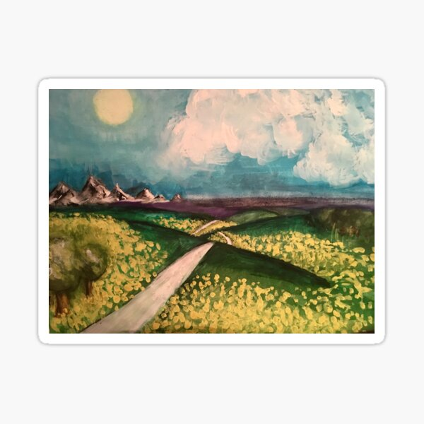 Forsythia Fields - original painting by mjh, 2018 Sticker