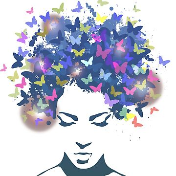 Woman with the hair made of butterflies by brusencov386