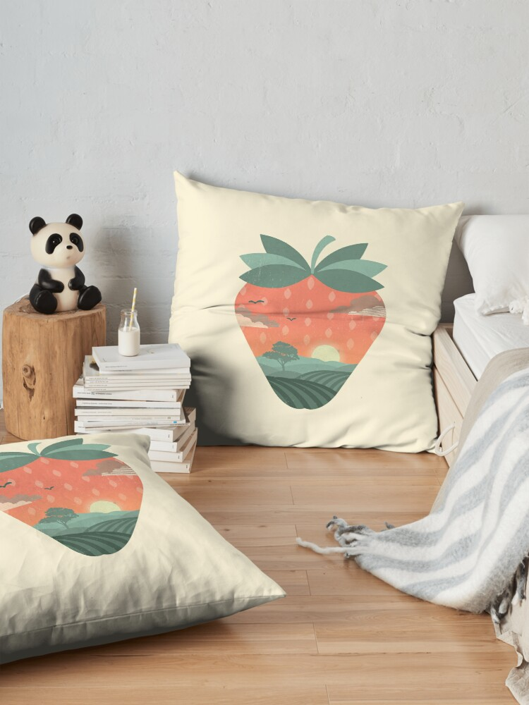 Alternate view of Strawberry Fields Floor Pillow