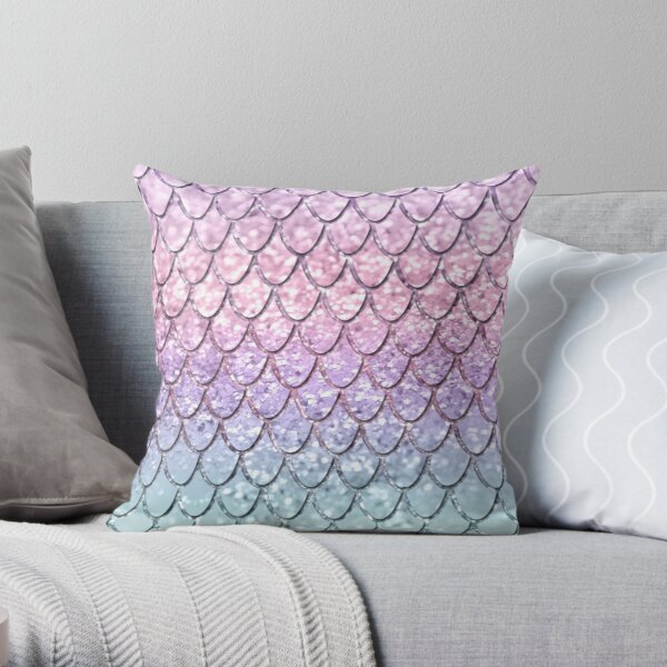 Escamas de sirena en Unicorn Girls Glitter # 1 #shiny #pastel #decor #art Cojín