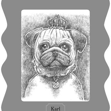 Sir Pugglesworth Cute Pug Dog Portrait by jutulen