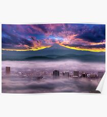 Dramatic colorful sunrise over Mount Hood and foggy Portland OR city downtown Poster
