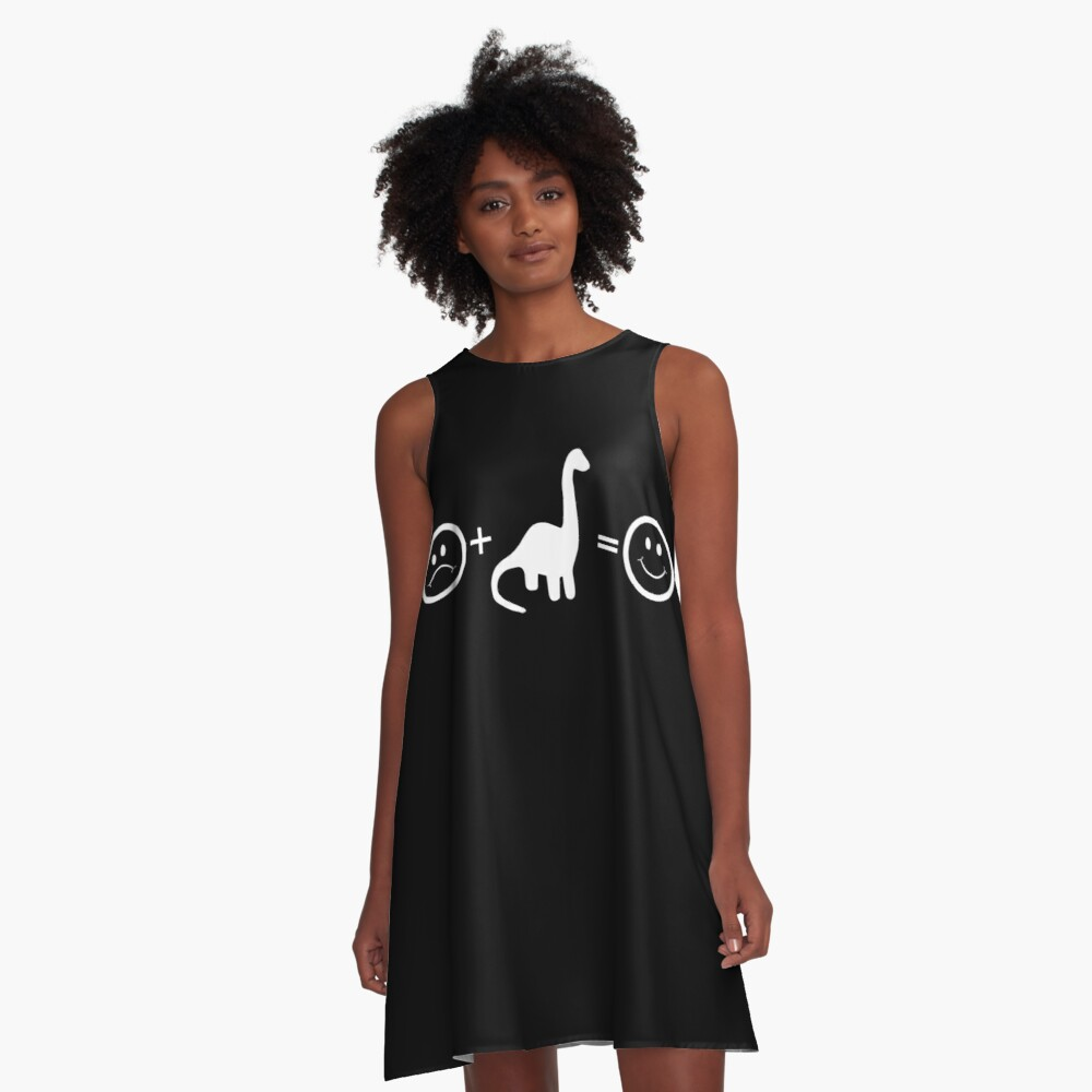 Kid Dinosaur Equals Happy Archaeologist A-Line Dress Front