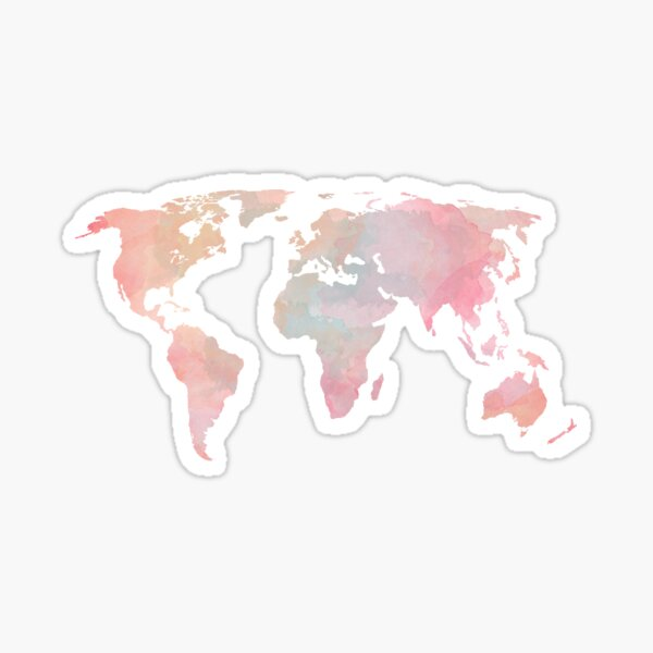 Pink, Turquoise and Orange watercolor world map Sticker