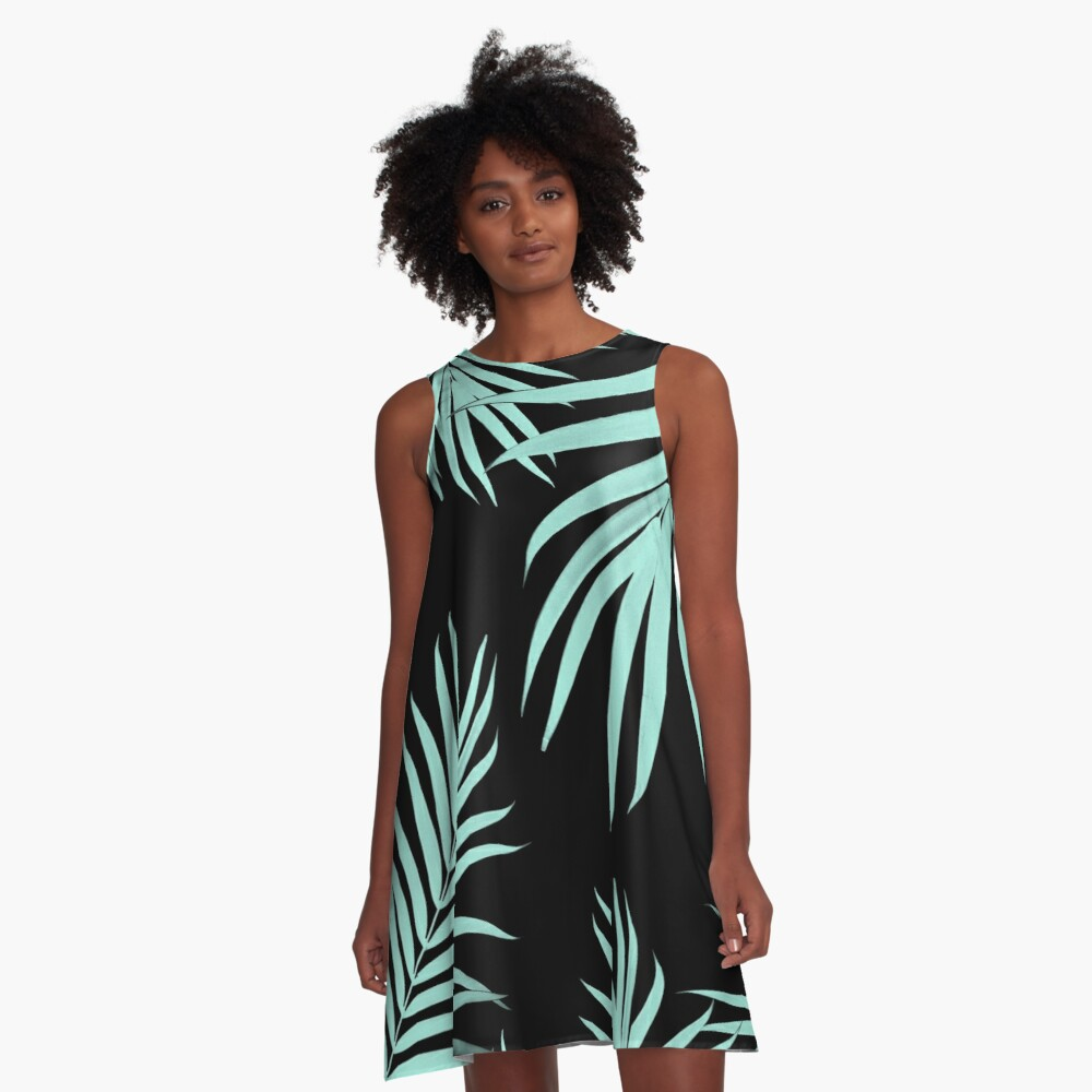 Palm Leaves Pattern Summer Vibes #6 #tropical #decor #art  A-Line Dress Front