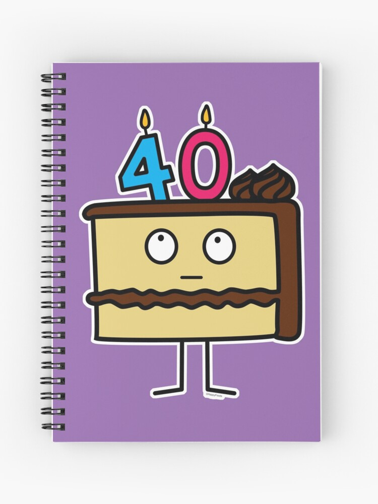 40th Birthday Cake With Candles Icing Dessert 40 Spiral Notebook