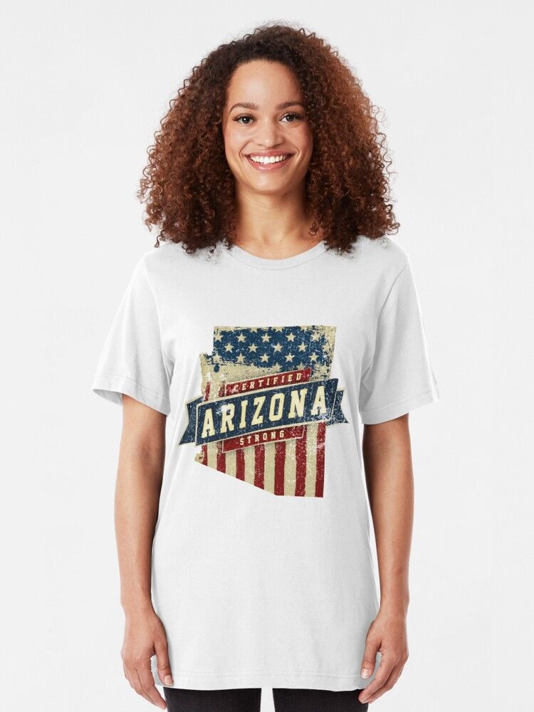 Alternative Ansicht von Arizona Starke USA Flag State Home Certified Großes Geschenk Awesome Stolze Fans Slim Fit T-Shirt