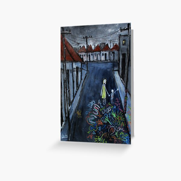 'childrens chalk drawing on the street' Greeting Card
