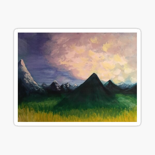 Mountain Morning - original painting by mjh, 2018 Sticker