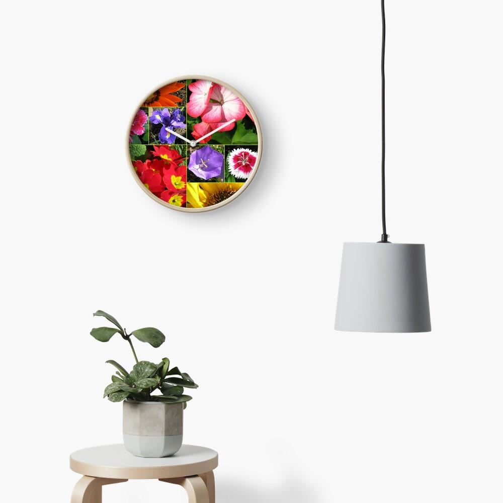 Sunkissed Blumen-Collage Uhr