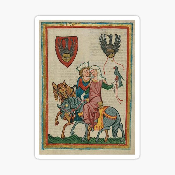 Medieval chivalry and love Sticker