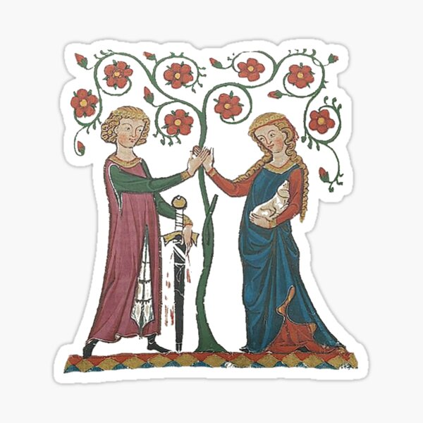 Medieval Couple, German circa 1250 Sticker