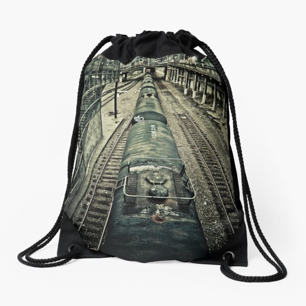 you are waiting for a train Drawstring Bag