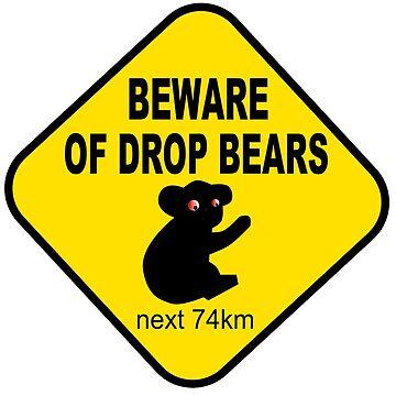Beware of drop bears funny australian road sign by headpossum