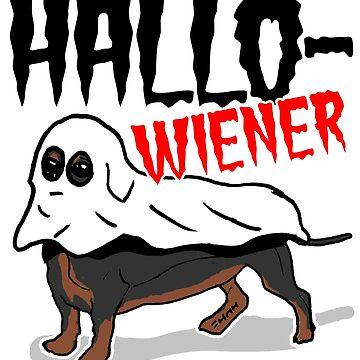 Funny Hallo-Wiener Sausage Dog Ghost with Dachshund  by sketchNkustom