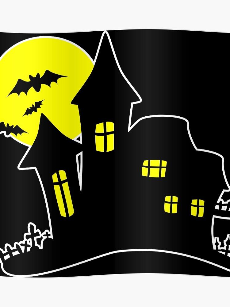 Effrayant Halloween Hanté Château Graphique Lune Méchants Dessin Cimetière Poster