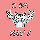Cute Funny Birthday Cat - I Am 4 Yay! - Blue Cat by stíobhart matulevicz