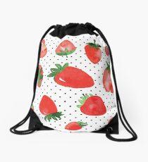Strawberries polka dot Drawstring Bag