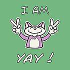 Cute Funny Birthday Cat - I Am 4 Yay! - Pink Cat by stíobhart matulevicz