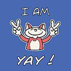 Cute Funny Birthday Cat - I Am 4 Yay! - Red Cat by stíobhart matulevicz