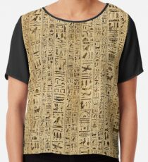 Egyptian hieroglyphs on papyrus Chiffon Top