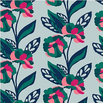 Emerald bold floral on grey by Pattern-Design