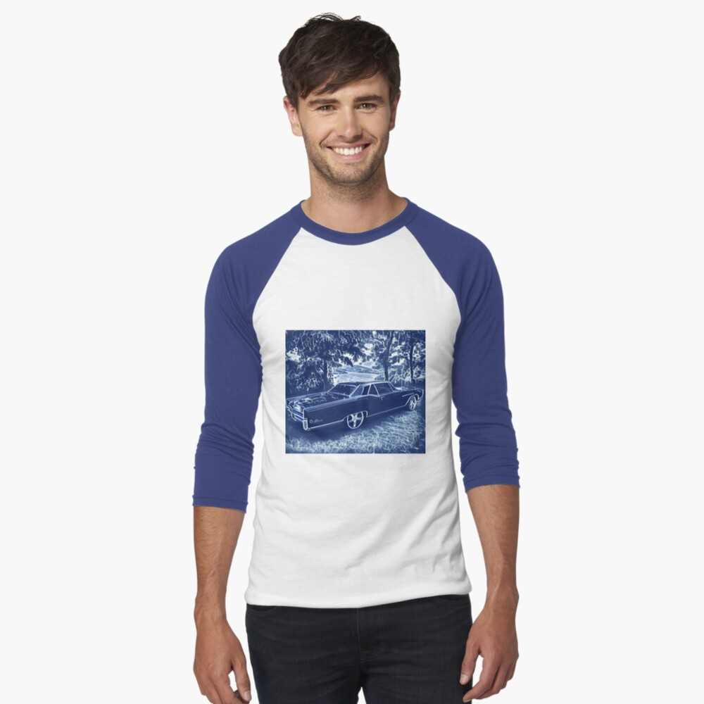Buick Electra in Blue Electric Baseball ¾ Sleeve T-Shirt