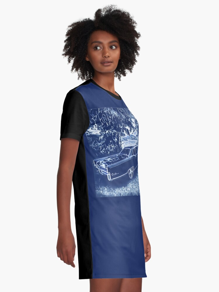 Alternate view of Buick Electra in Blue Electric Graphic T-Shirt Dress