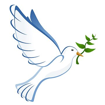 Dove with a Laurel twig or Olive branch, symbolising PEACE by TOMSREDBUBBLE