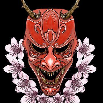 Samurai Inspired Kabuki Mask Design (On Black) by LukeMartinsArt
