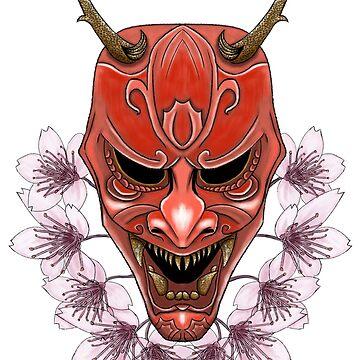 Samurai Inspired Kabuki Mask Design (On White) by LukeMartinsArt