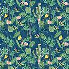 Cactus Flowers on Indigo Background by CafePretzel