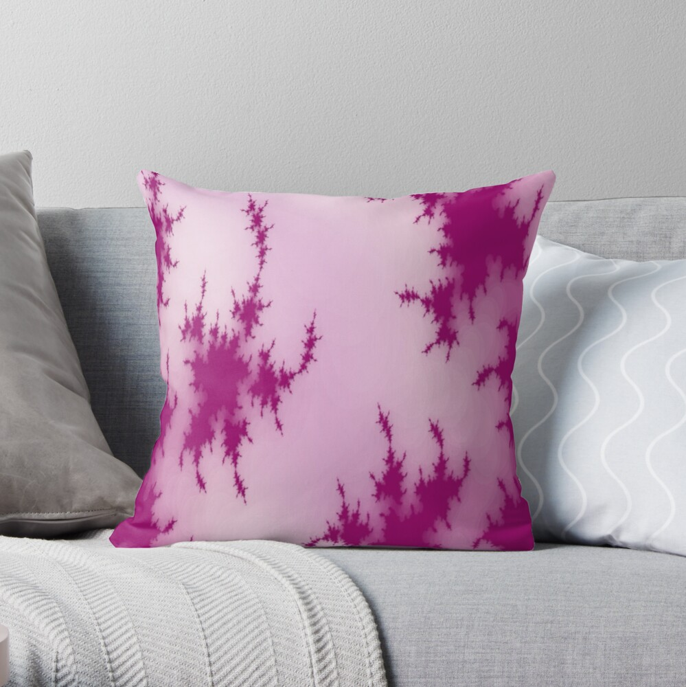 JAPANESE PINK SHADOWS AND INK BLOTS ON LIGHT PINK DECORATIVE DESIGN Throw Pillow