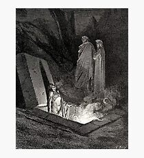 The Divine Comedy, Gustave Doré, Dante, Woodcut illustration, The Inferno, Canto 10. Photographic Print