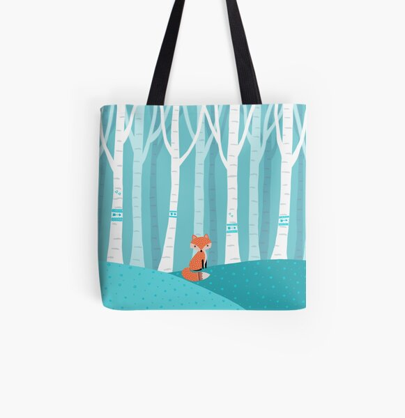 Fox - Birch Forest All Over Print Tote Bag