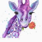 Zoya, the Purple Giraffe Watercolor by Jeri Stunkard