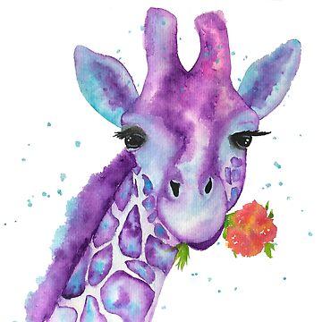 Zoya, the Purple Giraffe Watercolor by jstunkard