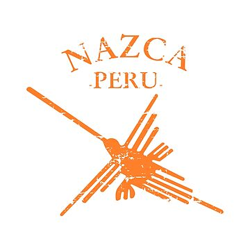 Nazca Lines Peru Hummingbird With Curved Text by Almdrs