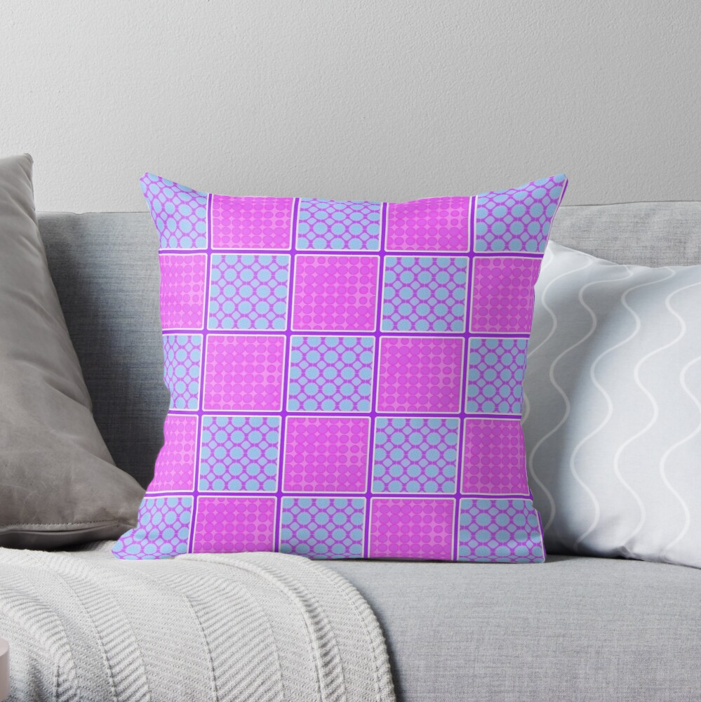 PINK AND PURPLE CHECK PATCHWORK DESIGN FOR ACCENTS IN  CHECKS WITH SQUARES AND SMALL POLKADOTS Throw Pillow