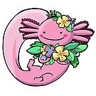 Axolotl with Flowers by Kelly Angel