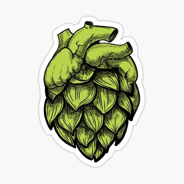 Heart Shaped Hops green Sticker