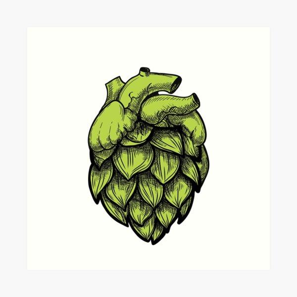Heart Shaped Hops green Art Print
