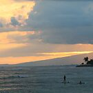 Paddle-boarder at Sunset by CherilynJoy