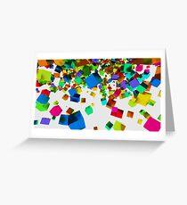 3d falling cubes Greeting Card