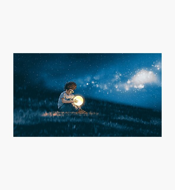 Night scene showing young boy with a little moon in his hands sitting on meadow by ezyassine